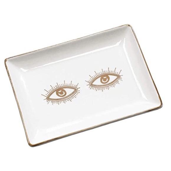 Boho Ceramic Eyes Jewelry Trinket Dish Gold Detail